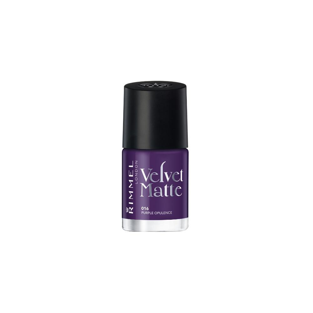 Lac de unghii mat Rimmel Velvet Matte 016 Purple Opulence, Mov, 12ml