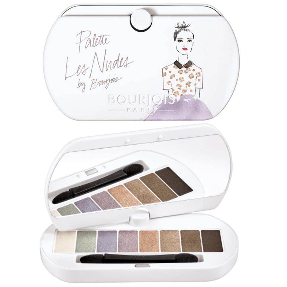 Paleta de farduri care contin formula de primer pentru culoare rezistenta Bourjois Les Nudes Eyeshadow Palette, 8 nuante