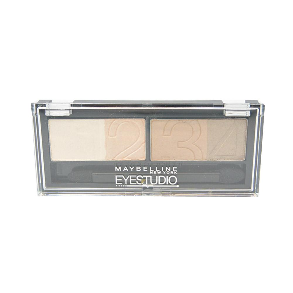 Paleta farduri highlighter si liner Maybelline Eyestudio  Natural Impact Quad Eyeshadow - Nude Beige