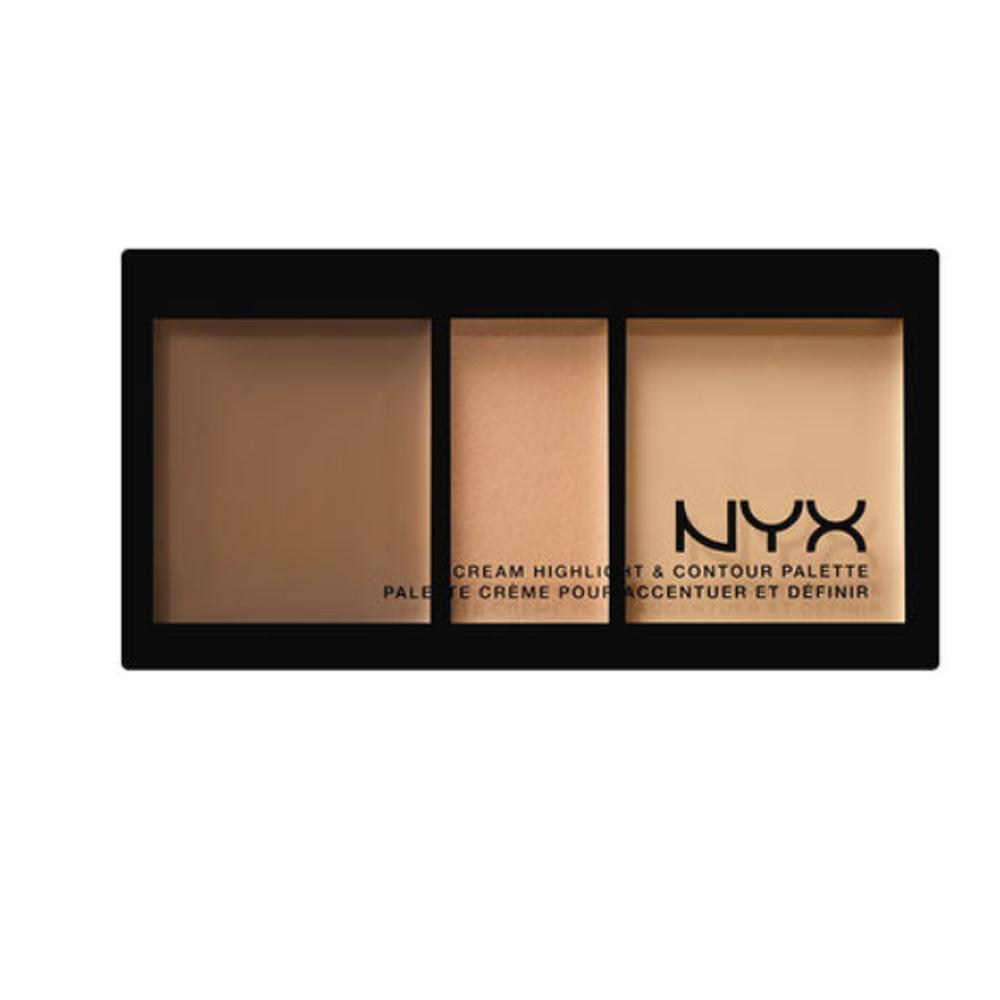 Paleta pentru conturarea si iluminarea fetei NYX Cream Highlight & Contour Palette - Medium