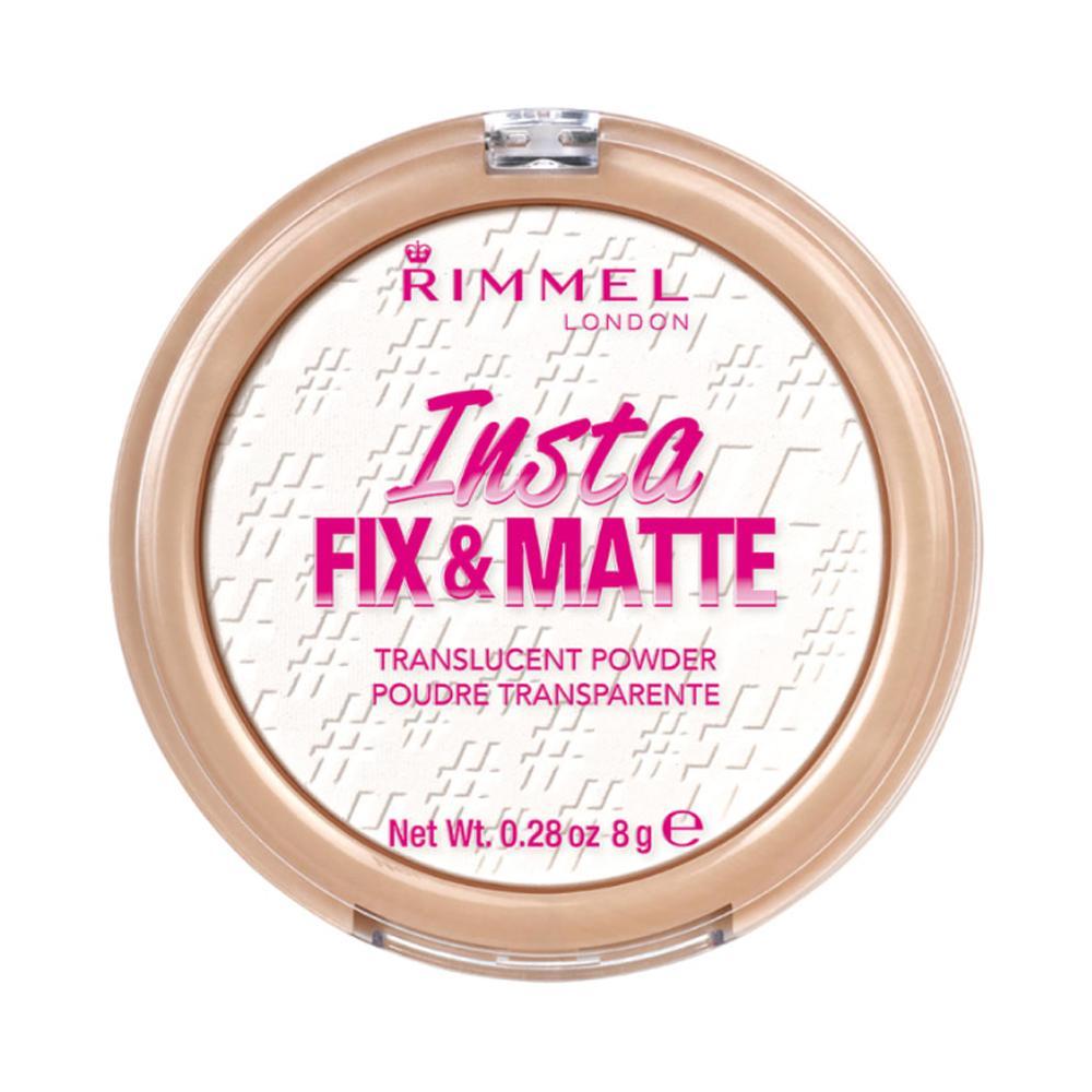 Pudra compacta translucenta pentru un aspect mat Rimmel Insta Fix & Matte Powder, 001, Translucent, 8g