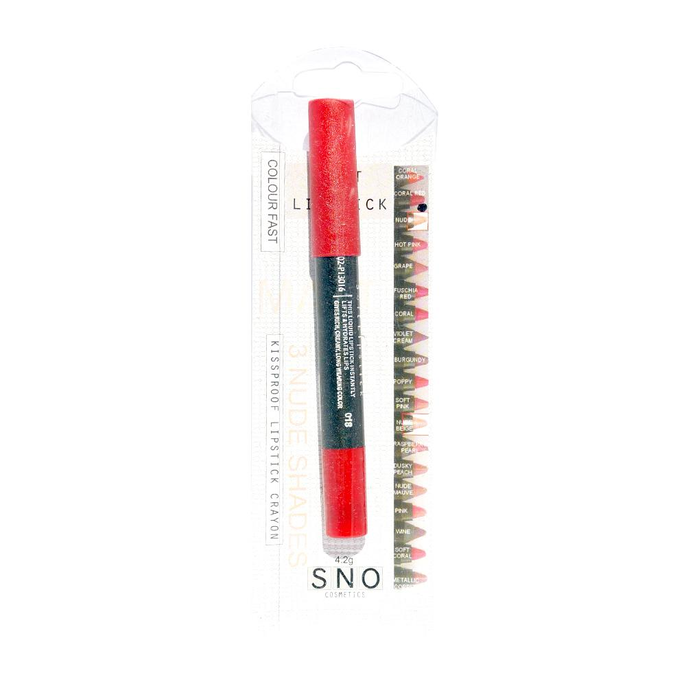 Ruj mat tip creion Saturday Night Out Me Now Kiss Proof Soft Lipstick Pencil Coral Red