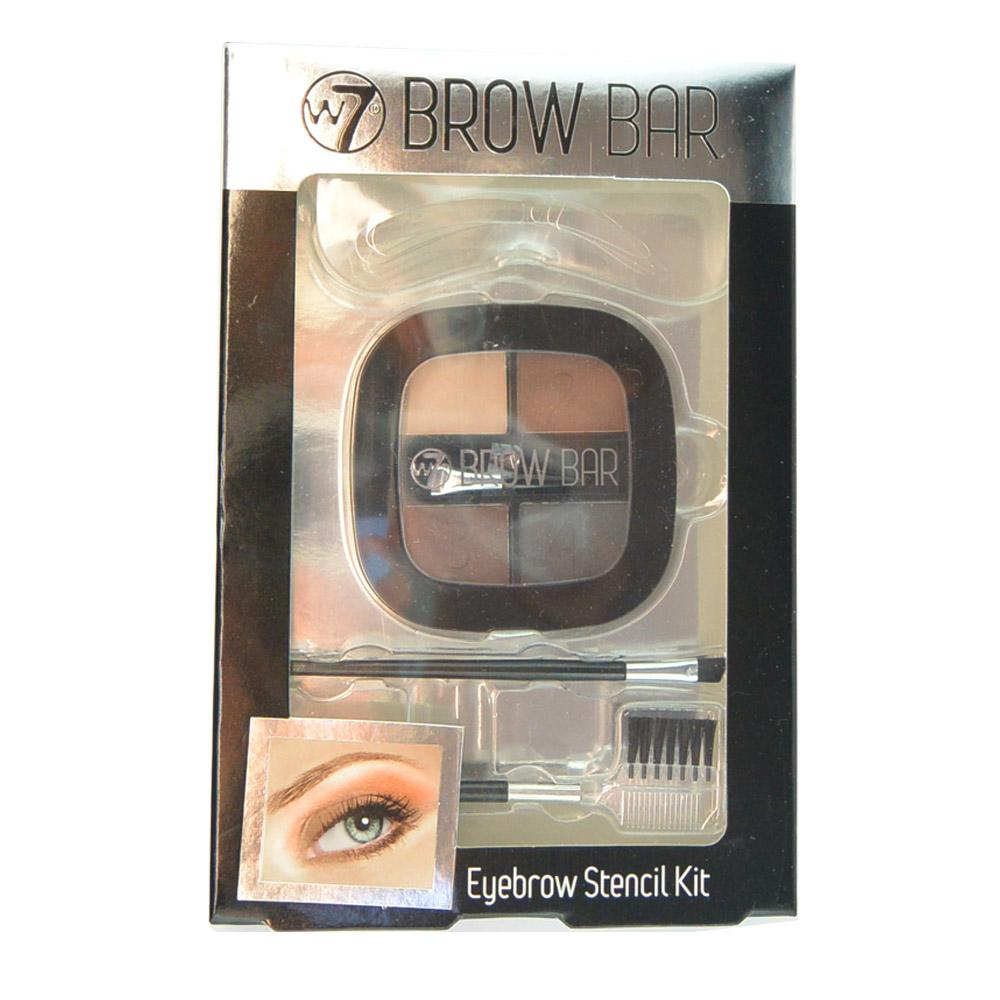 Set complet intretinere sprancene W7 Brow Bar Eyebrow Stencil Kit