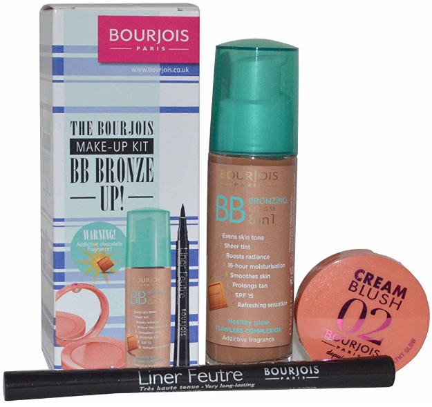 Set machiaj Bourjois Make Up Kit BB Bronze Up contine  3 produse: BB Cream, Fard de obraz si Tus de Ochi